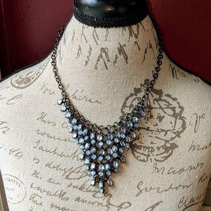 Blue jeweled necklace